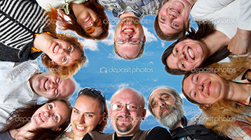 Happy team. 11 peoples. On blue sky.
