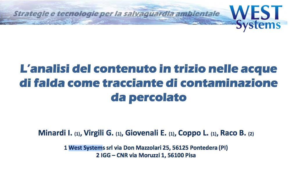 L'Analisi del contenut in trizio nelle acque di falda come tracciante di contaminazione da percolato