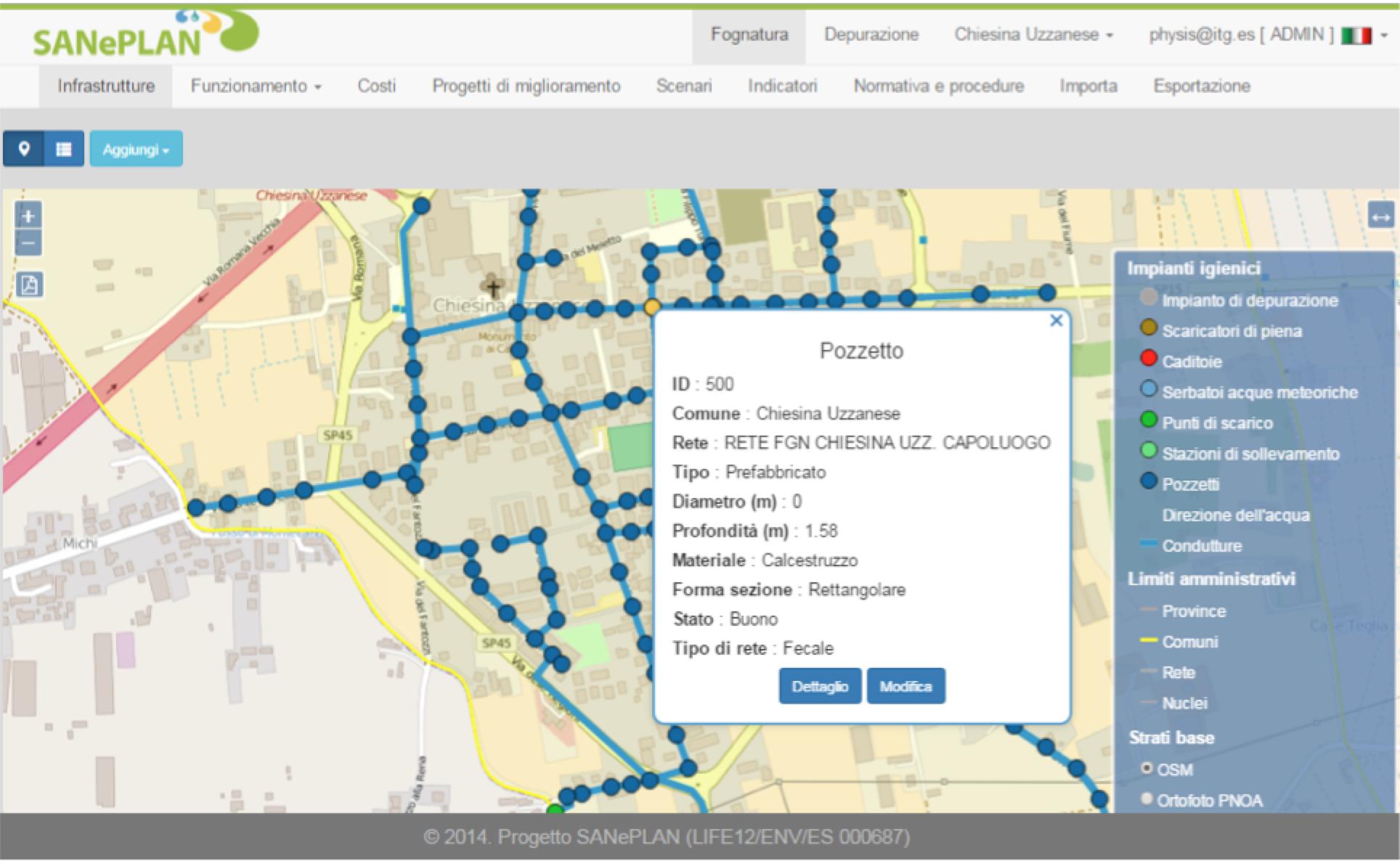 Rappresentazione geografica delle infrastrutture del blocco fognatura- pozzetto di fognatura